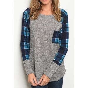 Tops - Blue Plaid with Contrast Gray Long Sleeve Top